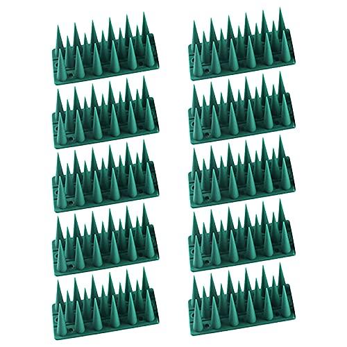 10 Anti Salita Gatto Uccello Recinzione, Chiodo per Uccelli da giardino in plastica Dissuasori per Piccioni Scaccia Dissuasore Spikes per uccelli Gatto Scoiattolo Animali procioni (43x4x3,5 cm)