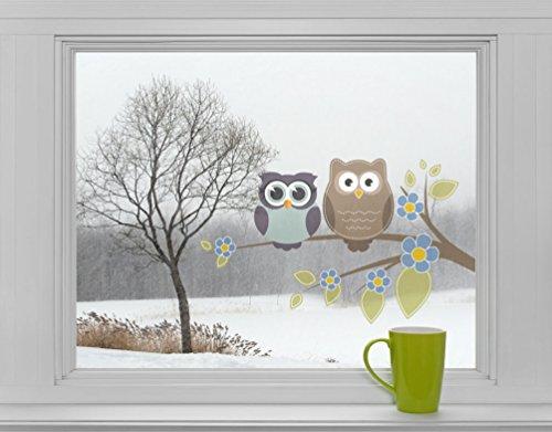 Mabi-IN-Design Eulen auf AST mit Blumen - Fenstersticker Sticker Aufkleber Vögel F004
