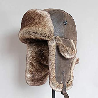 GAOZI Uomo Cappello da Aviatore in Pelle Colbacco Inverno Ski Cappelli del Bombardiere