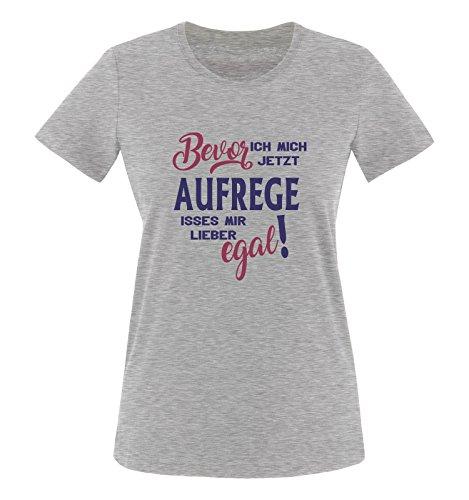 Comedy Shirts - Bevor ich Mich jetzt Aufrege isses Mir Lieber egal! - Damen T-Shirt - Graumeliert/Lila-Fuchsia Gr. L