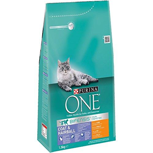 PURINA ONE Bifensis Pienso para Gatos Cuidado de Pelaje y Bolas de Pelo Pollo y Cereales 6 x 1,5 Kg 🔥