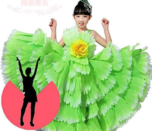 Spaanse jurk voor meisjes Flamenco Dance Gypsy Rokken Stage Prestaties Draag Chorus Jurken Petal Kids Kostuums 100-150CM
