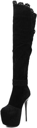 DANDANJIE Les Femmes Bottes Super Haut Talon sur sur Le Genou Bottes de Mode Sexy Volants Chaussures Noir,noir,34EU  exclusif
