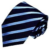LORENZO CANA - Marken Krawatte aus 100% Seide jacquard gewebt dunkelblau hellblau blau marineblau gestreift Streifen - 25026