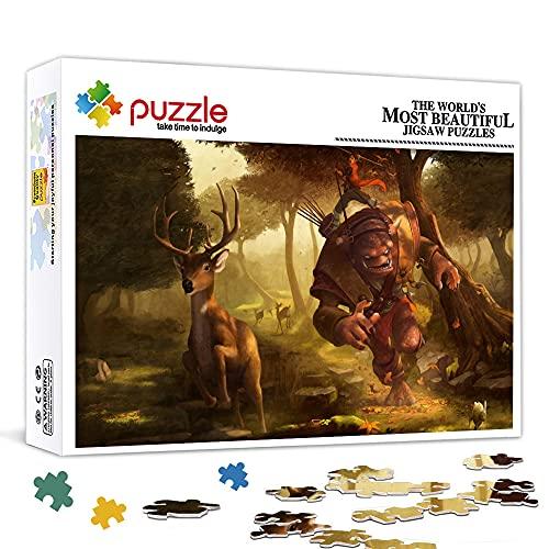 LLLTONG Puzzle da 300 Pezzi per Adulti Troll Cartoon Puzzle Game Decorazione della casa Puzzle (38x26cm) Puzzle di Sfida intellettuale per Adulti e Bambini