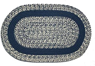 product image for Oval Braided Rug (2'x3'): Oatmeal Navy - Navy Band
