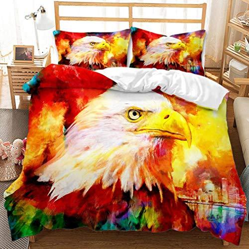 LXTX 3D domineering eagle bedding polyester fiber fiber stitch bedroom set comfortable and soft duvet cover and pillowcase 3pcs,H-3PCS173X218CM