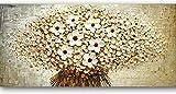 Decoración de pared de paisaje de flores pintadas a mano, paleta de flores blancas abstractas, lienzo de pintura al óleo de pared familiar, sala de estar, lienzo, cuadrado blanco, 28x56 pulgadas