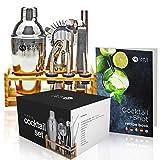 13 Stück Professionelles Cocktail Shaker Bar Set mit Cocktailbuch| Premium Edelstahl (Kein Rost, Kein Leck)| Cocktail Mixer, Cocktail Maker Kit mit Holzständer| Elegante Geschenkbox.