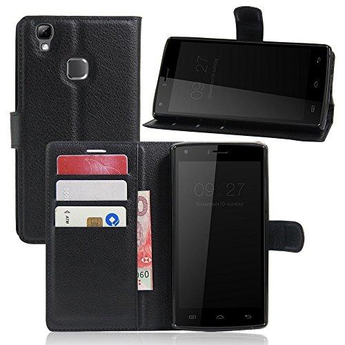 Tasche für DOOGEE X5 Max / X5 Max Pro Hülle, Ycloud PU Ledertasche Flip Cover Wallet Case Handyhülle mit Stand Function Credit Card Slots Bookstyle Purse Design schwarz