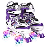 Kuxuan Doodle Design Roller Skates Adjustable for Kids,with All Wheels Light up,Fun Illuminating for Girls and Ladies - Purple M