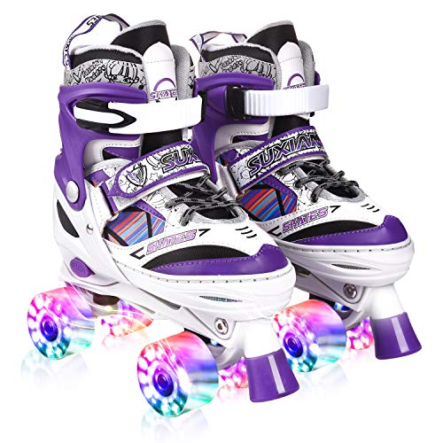 Kuxuan Doodle Design Roller Skates Adjustable for Kids,with All Wheels Light up,Fun Illuminating for Girls and Ladies - Purple S