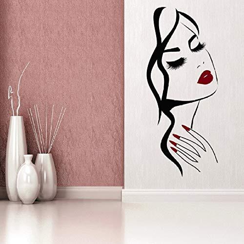 Handgeformte Mädchen Gesicht Wandaufkleber Maniküre Shop Dekoration Schönheitssalon Frisur Raumdekoration Kunst Poster Wandbild Aufkleber57X25CM