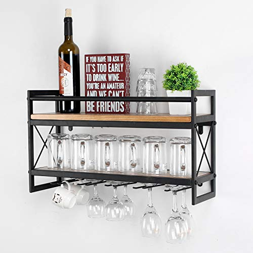 MBQQ Wine Rack Stemware Glass Rack,Industrial 2-Tier Wood Shelf,24in Wall Mounted Wine Racks with 5 Stem Glass Holder for Wine Glasses,Mugs,Home Decor,Black