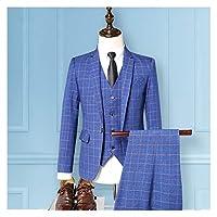 イギリスのファッションレジャースーツスーツの3ピースメンズグリッドワークスーツ メンズスーツスリムフィット (Color : Blue, Size : M)