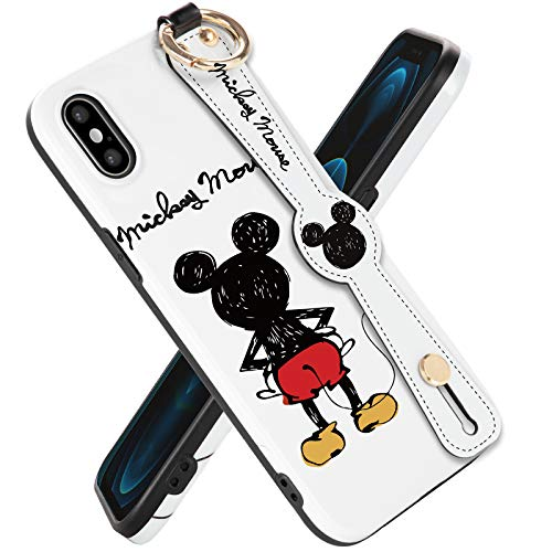 Disney iPhone Xs Max Case Mickey Mouse 6.5 inch, Cute Disney iPhone Xs Max Case Cartoon Mickey Design Fashion Animal iPhone Case with Short Wrist and Long Lanyards Soft TPU Protective iPhone Case