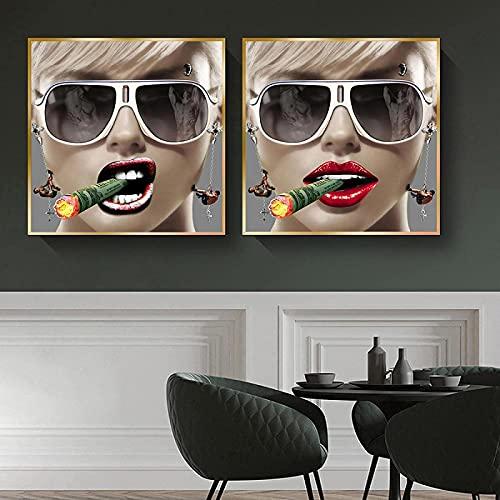 HHLSS Impresión de Lienzo 2 Piezas 40x40cm sin Marco Chicas Sexis Carteles de cigarros e Impresiones Gafas geniales imágenes de Mujeres decoración de Sala de Estar