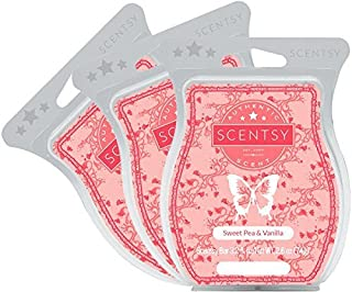 Scentsy, Sweet Pea and Vanilla, Wickless Candle Tart Warmer Wax 3.2 Oz Bar, (3) by Scentsy Fragrance,pink