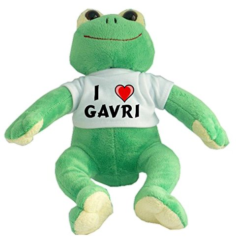 Rana de peluche con Amo Gavri en la camiseta (nombre de pila/apellido/apodo)