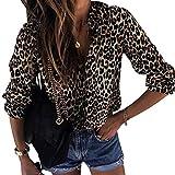 Camisa de Gasa Mujer Blusas Estampadas Leopardo Escote V Blusa Manga Larga Camisas Oficina Señora Top Camiseras Elegantes Camisetas Cuello V Blusones Blusa Vestir Formales Fiesta Largas Leopardo S