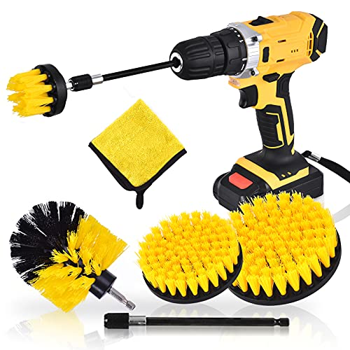 Drill Brush Attachment 6 Pieces Power Scrubber Electric Drill Cleaning Brushes Set Bathroom Kitchen Clean Tool Kit with Free Microfiber Towel Extended Pole