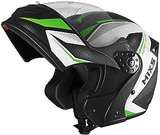 Capacete Mixs Gladiator Neo Brilhante Escamoteavel Articulado Robocop preto com verde 58