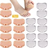 Metatarsal Pads-10 pares de almohadillas para pies transpirables y suaves de gel de silicona mortons Neuroma almohadillas mejor para pies diabéticos, callos y ampollas, dolor de antepié