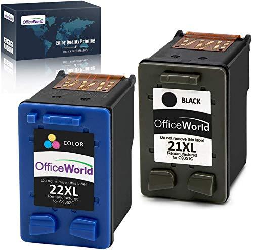OfficeWorld Remanufactured HP 21 22 Cartucce d'inchiostro 21XL 22XL Compatibile con HP PSC 1410, HP Deskjet F2280 F4180 D2460 D2360