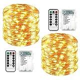 Qedertek 2 Pezzi Luci Led a Batteria 10M 100 LED, Luci Natale Esterno Impermeabile, Lucine Led Decorative,...