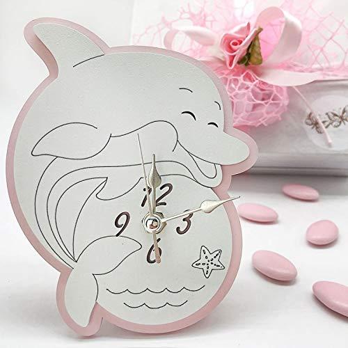Ingrosso e Risparmio Relojes con forma de delfín rosa y blanco de madera con pie de apoyo, bombonera con temática de mar y comunión, con caja de regalo (con caja blanca)