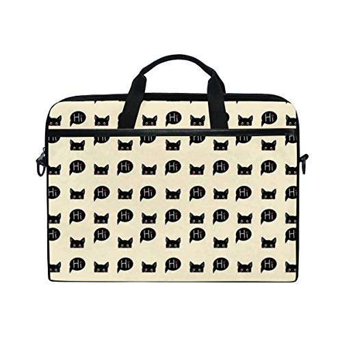 FOURFOOL 15-15.6 inch Laptop Bag,Young Black Kitties Sneaking On and Saying Hi Lovely Playful Domestic Pets,New Canvas Print Pattern Briefcase Laptop Shoulder Messenger Handbag Case Sleeve