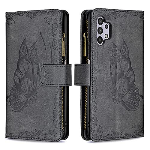 Funda para Samsung Galaxy A32 5G, funda de piel sintética con tapa de poliuretano termoplástico (TPU), antigolpes, diseño de mariposa, con tarjetero y cierre magnético, color negro