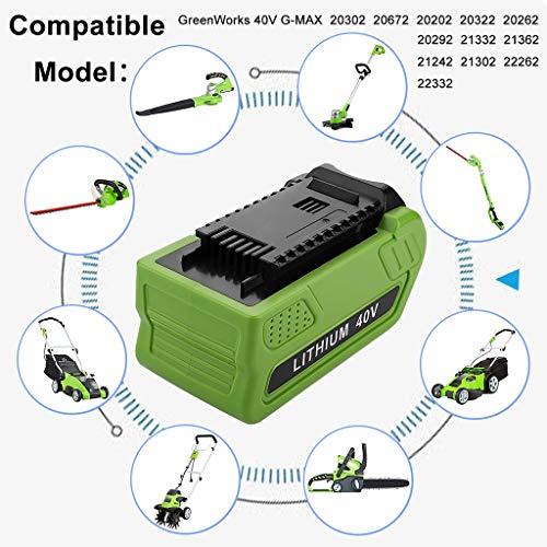 Momola Batterie au lithium pour tondeuse à gazon 40V 2500mAh,Remplacement pour GreenWorks 29472 29462 G-MAX,...