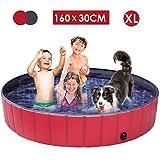 femor Hundepool Swimmingpool Für Hunde und Katzen Schwimmbecken Hund Planschbecken Hundebadewanne Faltbarer Pool mit PVC-rutschfest Verschleißfest Für Kinder Hund Katze Geschenk(160 * 30cm)
