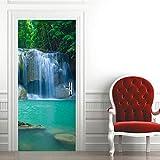 3D Mural para Puerta 77X200Cm Autoadhesivo Impermeable Papel Pintado Puerta para Sala de Estar Baño Cocina Extraíble Vinilo Adhesivo de Pared,Decoración del Hogar - Paisaje de Cascada de Montaña