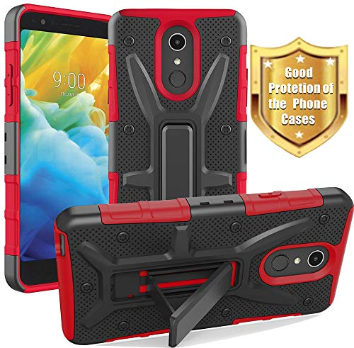 Yiakeng LG Stylo 4 Case, LG Stylus 4 Case, LG Stylo 4 Plus, Dual Layer Shockproof Wallet Slim with Kickstand Hard Phone Protective Cases Cover for LG Q Stylus (Red)