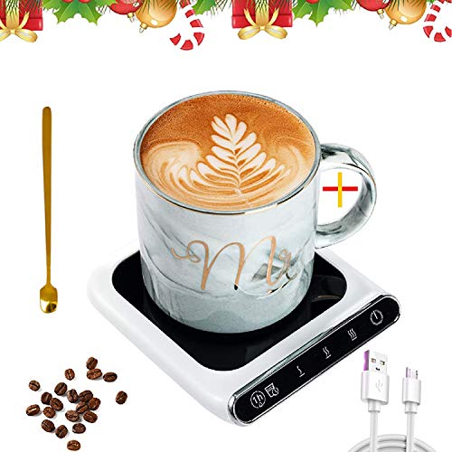 Coffee Mug Warmer, Coffee Cup Warmer for Desk with Auto Shut Off, USB Coffee Mug Warmer with 3 Temperature Control, Coffee Cup and Spoon are Included, Smart Coffee Warmer for Heating Milk, Coffee (White)?-
