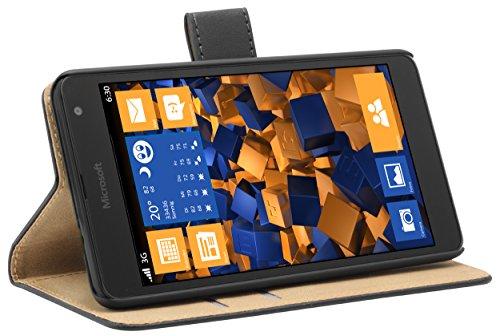 mumbi Tasche Bookstyle Case kompatibel mit Microsoft Lumia 535 Hülle Handytasche Case Wallet, schwarz