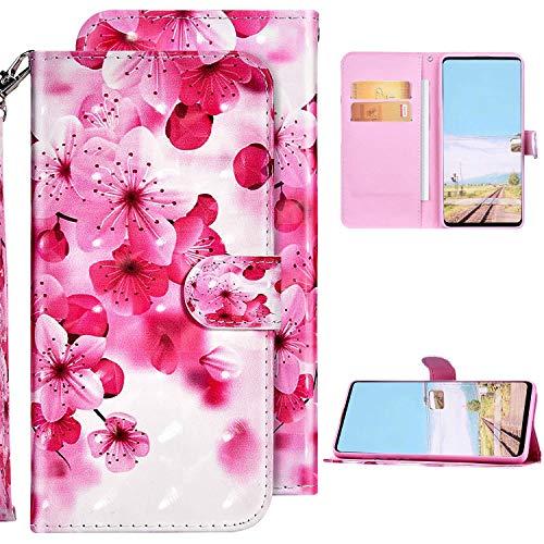 Kompatibel mit Samsung Galaxy A71 Hülle Ledertasche Brieftasche Schutzhülle Flip Case,3D Glänzend Bunt Bemalt Muster PU Leder Klapphülle Tasche Handyhülle für Galaxy A71,Rot Blume