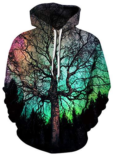 BarbedRose Men's Digital Print Sweatshirts Hooded Top Galaxy Pattern Hoodies,Night Tree,S/M