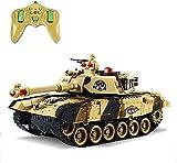 Kikioo 17in RC Lucha de la batalla del tanque que dispara, teledirigidos de radio recargables tanque con sonido y luz, tanques del ejército militares rastreadores Chariot Militar Juguetes de Navidad P