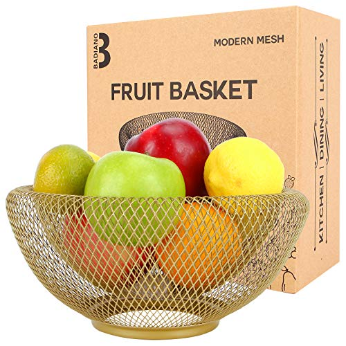 Badiano Metal Mesh Fruit Basket, Double Wall Veggie Bowl for Bread and Snacks, Vegetable Storage Holder for Counters, Kitchen, Countertop, Table, Centerpiece, Home Décor (Gold)