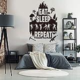 Tianpengyuanshuai Eat Sleep Repeat Gamer Dancer Etiqueta de la Pared Habitación de los niños Dormitorio Etiqueta de la Pared Vinilo Decoración del hogar -100x68cm