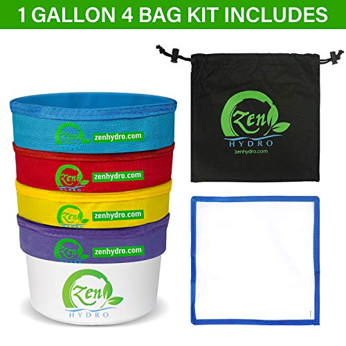 iPower GLBBAG1X4 1-Gallon 4 Bubble Hash Bag Herbal Ice Essence Extractor Kit Free Carrying Bag & Pressing Screen, 1 Gallon, 4bags, Multi Color