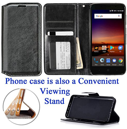 for ZTE Uhura Ultra Quest Legacy N817 Case Phone Case Designed Wallet Grip Textured Kick Stand Hybrid Pouch Pocket Purse Screen Flip Cover (Black)