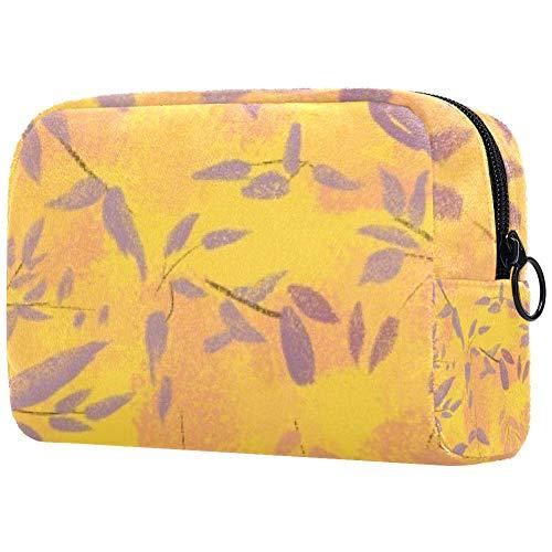 Trousse de toilette portable pour femme avec motif feuilles mat