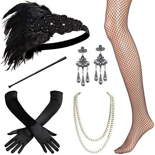 BABEYOND 1920s Flapper Accessories Set Gatsby Costume Accessories 20s Flapper Headband Pearl Necklace Gloves Cigarette Holder (Set-3) Black