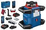 Bosch Professional Sistema 18V Nivel láser giratorio GRL 600 CHV (1 batería 18V x 4.0 Ah + cargador, función aplicación, alcance Ø: hasta 600m, en maletín)
