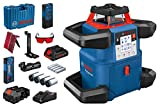 Sistema Bosch Professional 18V Laser rotante GRL 600 CHV 18V (1 batteria 18V, 4Ah + caricatore, connesso, 600m, valigetta di trasporto)