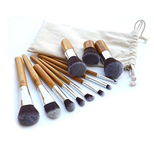 Set De 11 Maquillage Pinceaux - Cheveux Synthétiques, Virole En Aluminium, Poignée En Bambou, Sac En Lin by CASCACAVELLE